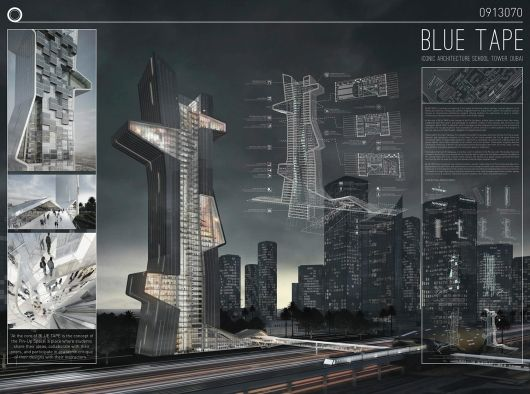 "A look into ""Blue Tape"", the winning entry for the Dubai Architecture School Tower competition 