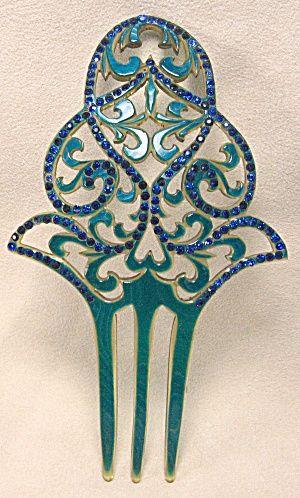 Art Deco Hair Combs | Details about Art Deco Celluloid Rhinestone Hair Comb