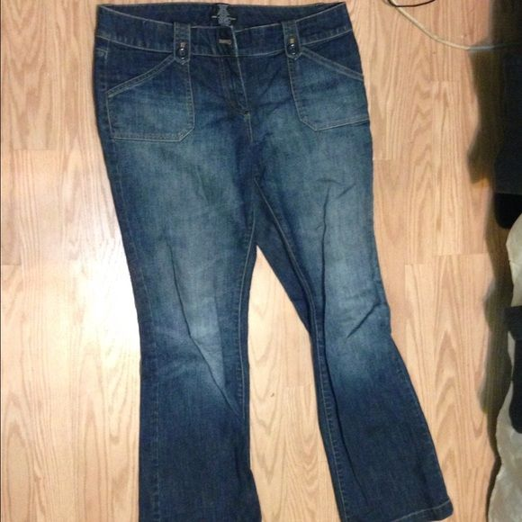 NY&CO Mid Fade Denim Jeans Cute style faded denim in the middle. Flare bottom great to be paired with boots or heels New York & Company Jeans