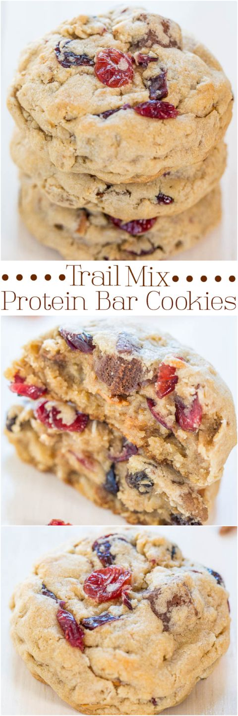 Trail+Mix+Protein+Bar+Cookies+-+Packed+with+your+favorite+trail+mix+goodies,+even+protein+bars!!+Soft,+chewy,+and+accidentally+healthy!!!