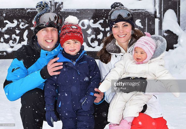 French Alps, France March 3, 2016  Prince William, Prince George, Catherine and Princess Charlotte enjoy a short private skiing break .