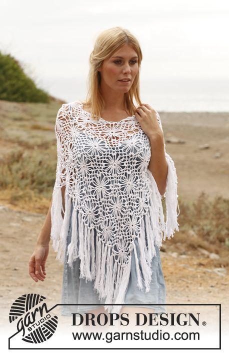 """Crochet DROPS poncho with squares in """"Safran"""". Size: S - XXXL. ~ DROPS Design.  Free pattern."""