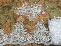 20 СМ в ширину С белое свадебное платье кружевной отделкой аксессуары вышивка цветы кружева для свадебного платья 5 ярдов/серия