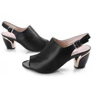 Mulheres Sandálias Tamancos Sapatos abertos Salto robusto Couro Sapatos (1625107804)