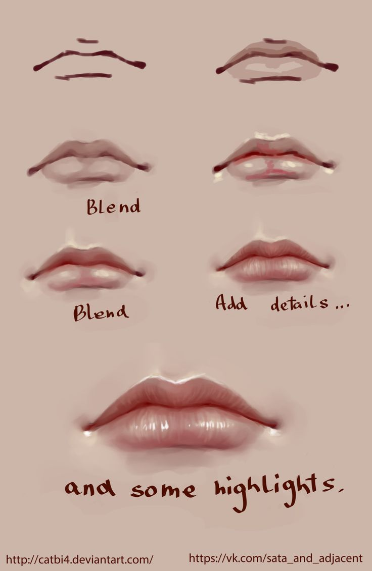Lips step by step by CATbI4 on DeviantArt