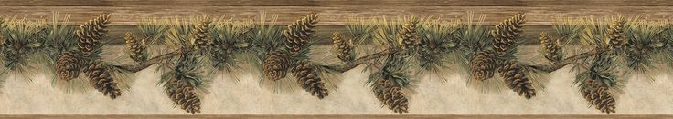 "Echo Lake Lodge Hill 15' x 6"" Pomona Pine 3D Embossed Border Wallpaper"