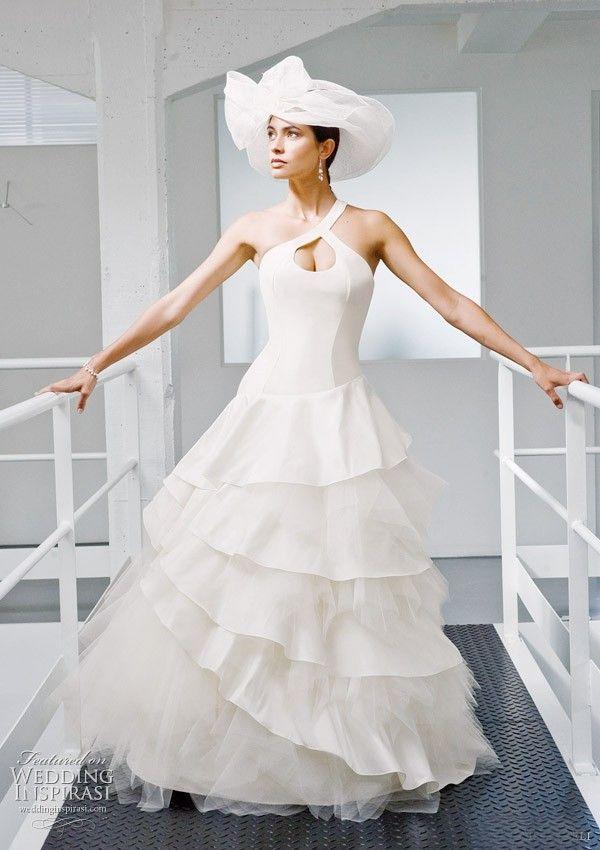 vestido de novia hombro ojo de la cerradura de tul tafetán vestidos de novia de la suerte | dresseslux.com
