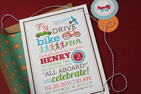 Transportation Birthday Invitation by sweetmagsdesign on Etsy, $5.50