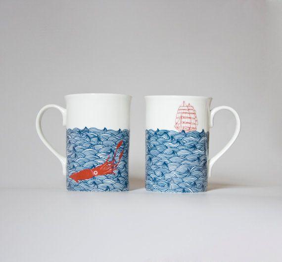 Kraken giant squid mug waves