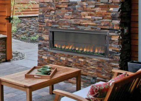 """43"""" Propane Gas Electronic Ignition Linear Outdoor Vent-Free Fireplace Superior Fireplaces"""