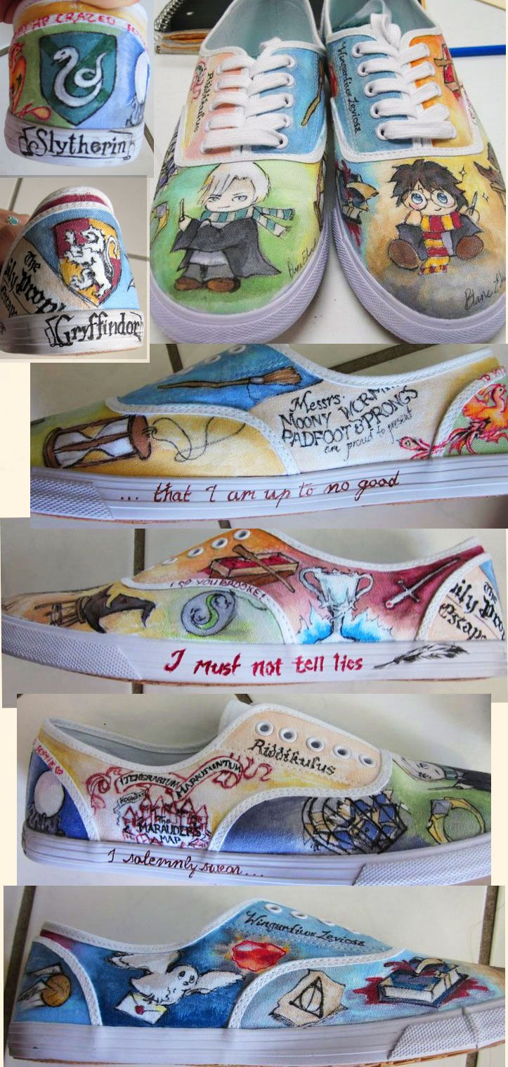 Harry Potter Shoes by ~feavre on deviantART i would keep these under lock and key in a glass box and each morning i would worship them,