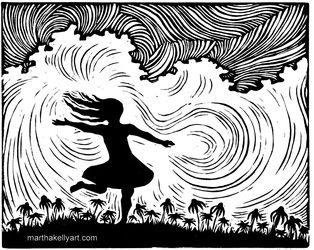 """Joy"", a linoleum block print by Martha Kelly."