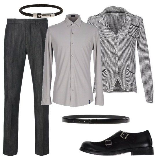 Pantalone classico a gamba stretta dritta, camicia leggermente avvitata a maniche lunghe, giacca in maglia con bottoni, scarpa con fibbie laterali, cintura in pelle con fibbia in metallo, bracciale in gomma e acciaio.