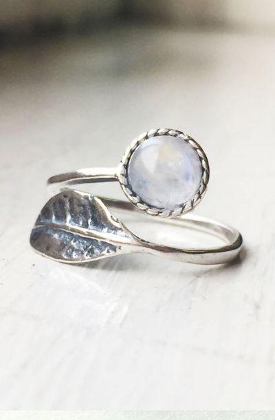 Delicate and Elegant Rainbow Moonstone set in Leaf Adjustable Rings