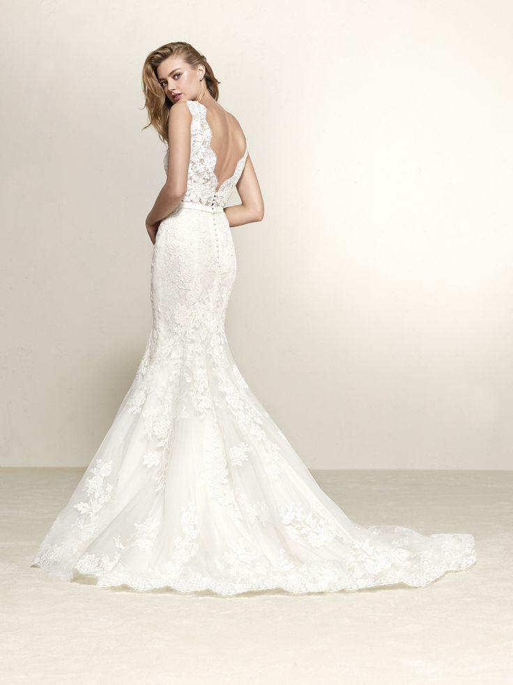 Vestido de novia espalda pico pronunciado