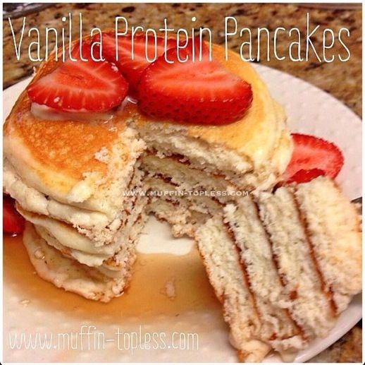 Vanilla Protein Pancakes by Muffin Topless Recipe Breakfast and Brunch with whey, oats, baking powder, egg whites, nonfat plain greek yogurt, unsweetened coconut milk