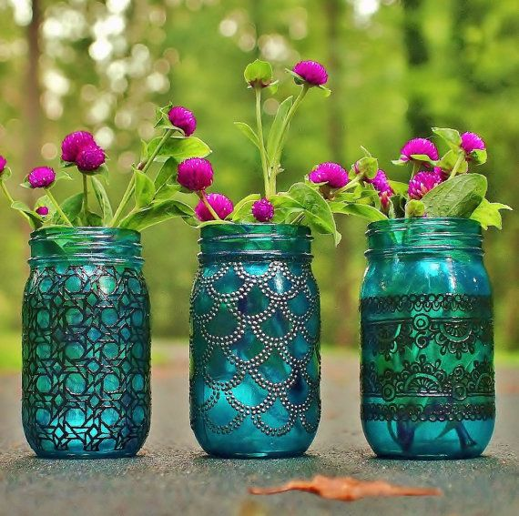 Moroccan Jar Lantern Aqua Blue Glass with Black by LITdecor