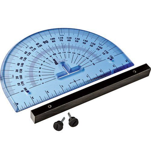 Blue Right Woodworker's Protractor by Rockler. $24.99. This durable Blue Right Woodworker's Protractor is twice as thick as a standard protractor and will give you years of use on even the toughest of job sites. Features a removable fence that lets you set the protractor flush against your work piece for accurate measuring, marking and projecting angles, or remove the fence and use it as a standard protractor. Convenient slots let you mark center points, and the fla...