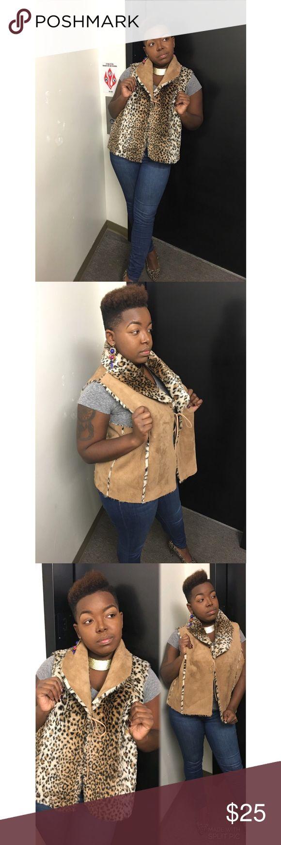 Leporad Fur reversible Vest Vintage Leopard reversible  FUR VEST! ✨The Bomb✨ Size: L/XXL Vintage Jackets & Coats Vests