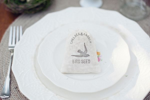bird seed wedding favors at place settings // photo by AthenaPelton.com