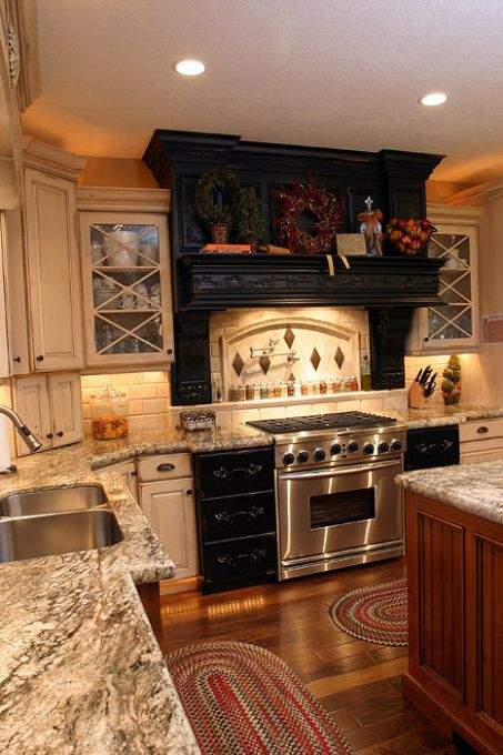 Small Kitchen Design With Cherry Wooden Cupboards