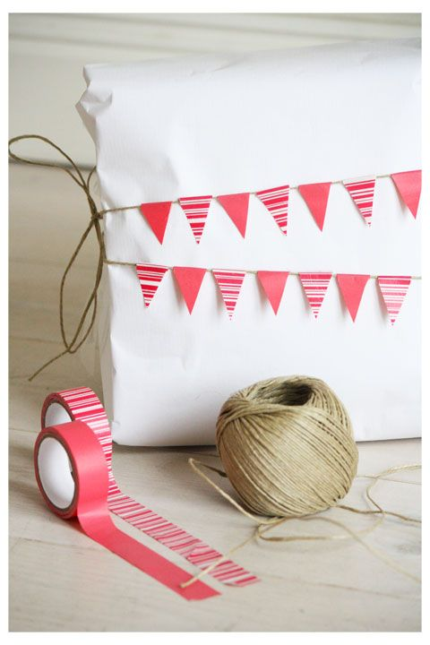 Washi Tape Bunting on white wrapping.