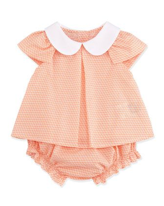 Allover Zucca-Print Two-Piece Set, Coral, 3-9 Months  by Fendi at Neiman Marcus.