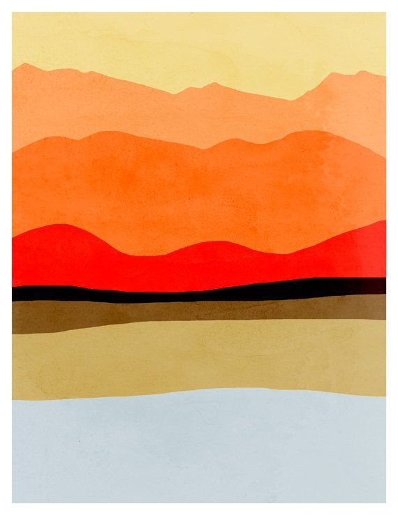 Minimal art print abstract landscape art minimalist by for Minimal art landscape