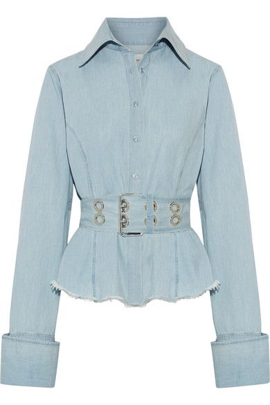 Light-blue cotton-chambray Button fastenings through front 100% cotton Machine wash Imported