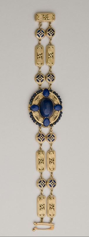 Bracelet, c. 1915. Design No. F5165. Lapis lazuli, enamel, gold. Tiffany & Co., New York City, 1837–present. Jeweler: Meta K. Overbeck, American, born c. 1880. Marks: TIFFANY & CO.