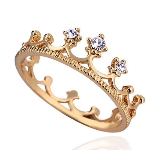 2014 Hot Sale 18 K Banhado A Ouro New design anel Coroa Anel Anéis Do Partido para as mulheres Por Atacado E brilhar-jóias