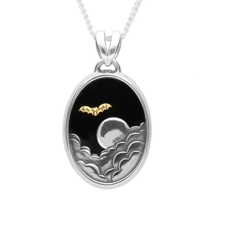235 best whitby jet pendants set in sterling silver images on silver 9ct yellow gold and whitby jet oval moon and bat necklace aloadofball Image collections