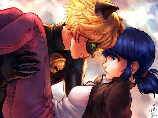 Chat Noir et Marinette #MiraculousLadyBug #Fanart #Dessin de Cj et couleurs de kami areo #Anime
