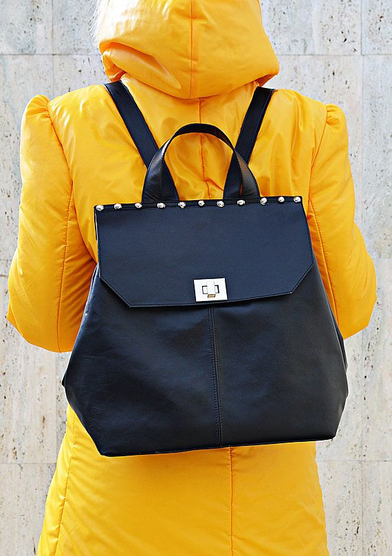 Genuine Leather BackPack Black Leather Backpack Funky