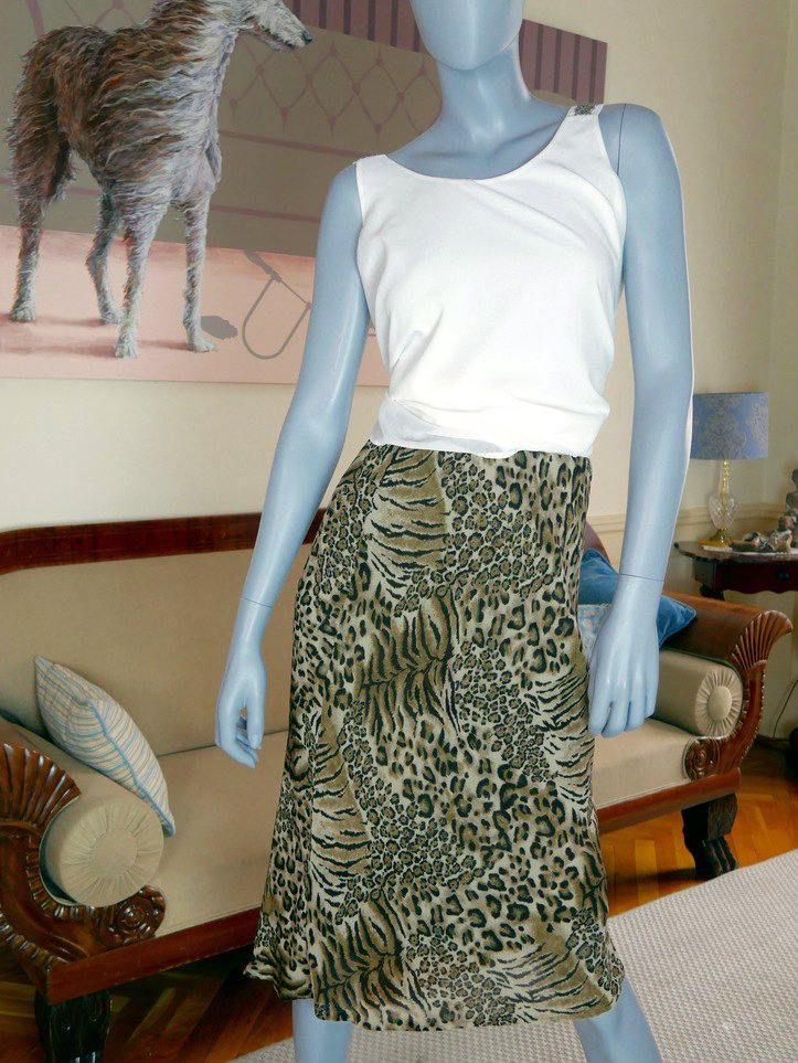 Leopard Print Skirt, Knee Length Midi Animal Print Skirt, Party Skirt, Big Cat Skirt, Sexy Skirt: Size 8 US, Size 12 UK by YouLookAmazing on Etsy