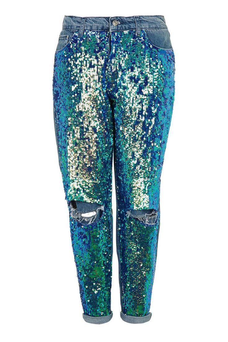 MOTO Mermaid Sequin Boyfriend - Jeans - Clothing - Topshop