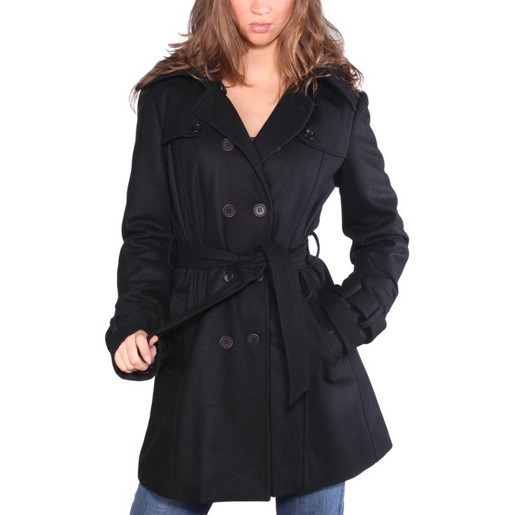 From professional attire to casual denim, this Wilda wool-blend coat looks perfect with practically everything in your closet. This classic black parka is made with a button-up front closure and a removable hood for added versatility.