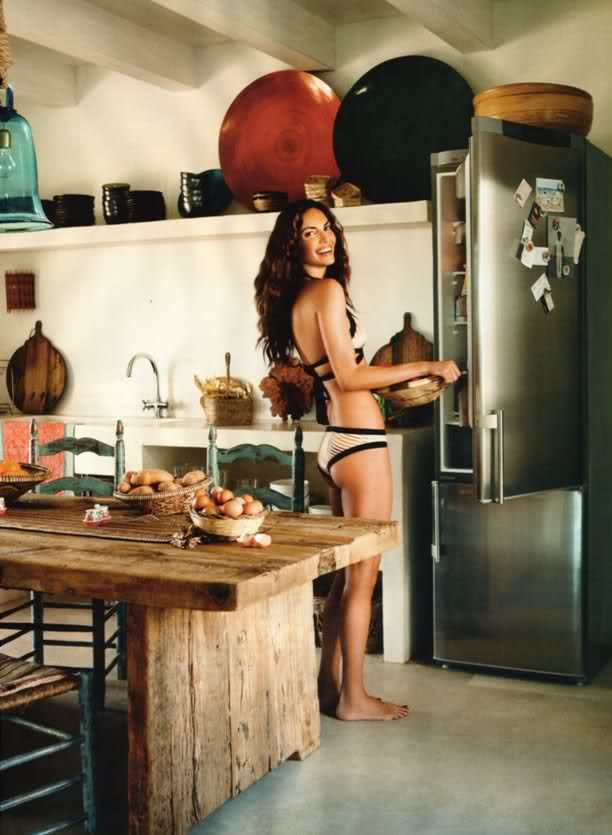 """Can Eu"" - Spanish top model Eugenia Silva´s home in Formentera (Spain) - Eugenia Silva in her kitchen"
