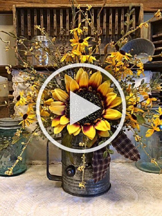 Country Farmhouse Decor Vintage Kitchen Sifter Beautiful Sunflower Floral Centerpiece Primiti In 2020 Table Floral Arrangements Country Farmhouse Decor Farmhouse Decor