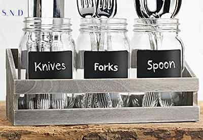 Rustic Mason Jar Kitchen Utensil Caddy Holder Flower Vase Flatware Storage