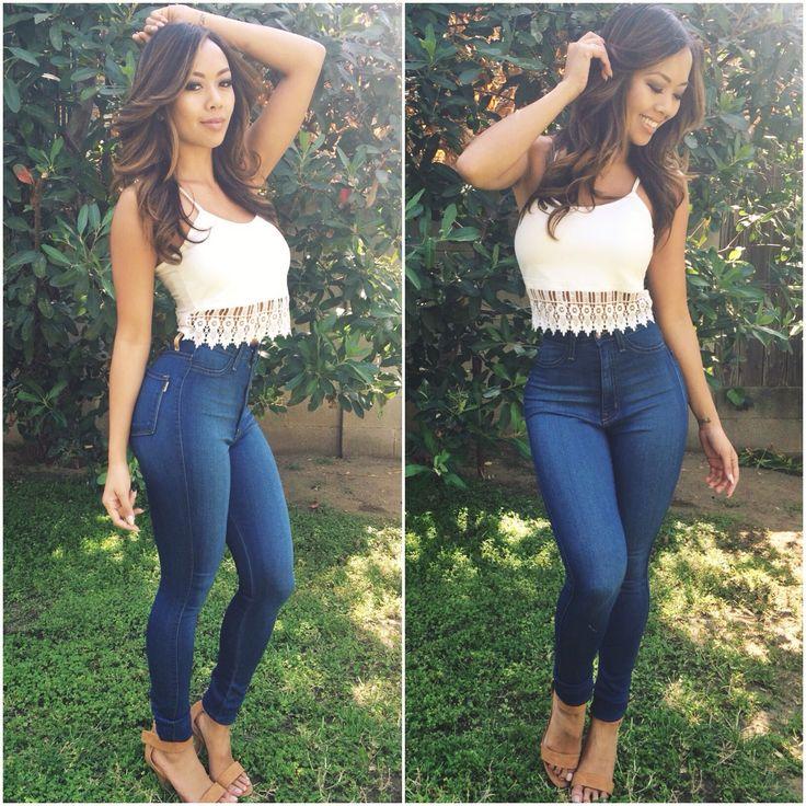 Medium Blue Classic High Waist Skinny Jeans. Hourglass figure