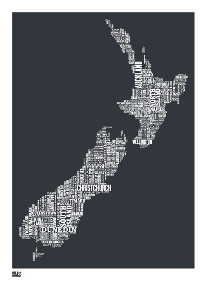 New Zealand Type Map in Sheer Slate decorative by boldandnoble, $69.00
