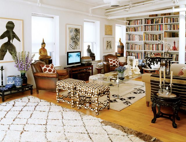 Love Beni OurainLiving Area, Living Rooms, Elle Decor, Moroccan Rugs, Room Decor Ideas, Interiors Design, Families Room, Madeline Weinrib, Leather Chairs