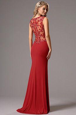 Vestido de Noche Largo Elastico Sin Manga Rojo Delicado (36161002)