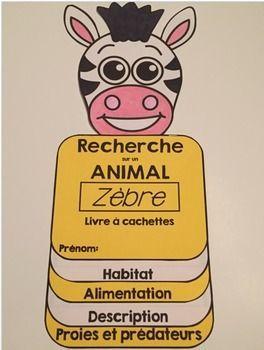 GRATUIT: ZÈBRE: Livre à cachettes: Ce petit livre est facile à assembler et encouragera les élèves à faire une recherche sur le zèbre.
