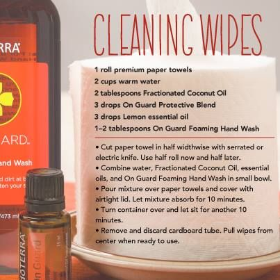 Natural cleaning wipes made with doTERRA essential oils-- Cleaning wipes are great to have on hand when you are cleaning surfaces. Simply keep them stored in an airtight container and use at your convenience.