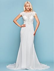 Mermaid+/+Trumpet+Jewel+Neck+Court+Train+Chiffon+Wedding+Dress+with+Beading+Appliques+Side-Draped+by+LAN+TING+BRIDE®+–+AUD+$+664.37