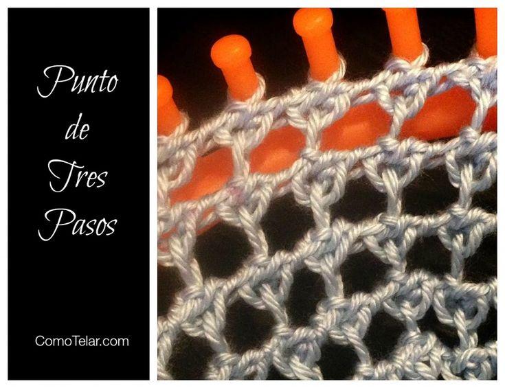 Puntada Tejida en Telar Redondo - Punto de Tres Pasos. Vídeo tutorial y Fotos de instrucciones.