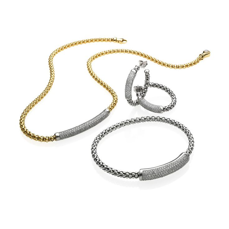 CHIMENTO YELLOW GOLD AND WHITE GOLD NECKLACE, EARRINGS AND BRACELET WITH DIAMONDS