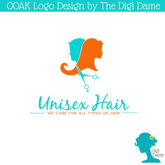 OOAK Premade Logo Design Unisex Hair Salon Aqua and by digidame, $80.00